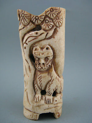 Antique Chinese Old Cattle Bone Hand-Carved Lion Pine tree Cup