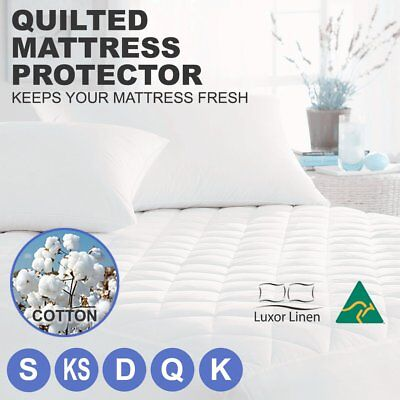 Aus Made Fitted Cotton Cover Quilted Mattress Protector Topper Pillow ALL SIZE