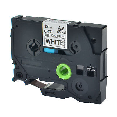 Black on White Strong Label Tape For Brother TZe-S231 TZ-S231 PT-D210 12mm 8m