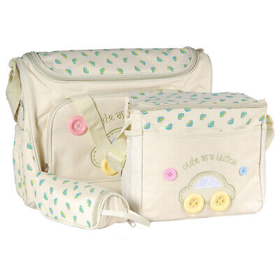 4 PCS in set Cute Baby Diaper Nappy Changing Bag Set Bags Cream