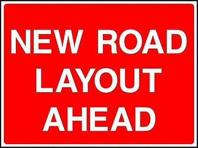 New road layout ahead Road safety Sign