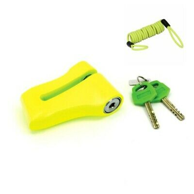 Mammoth Yellow Disc Lock With 10mm Pin Free Cable Motorcycle Motorbike Lock