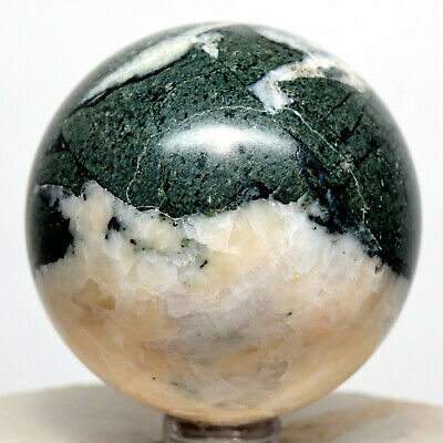 53mm Green Apatite Sphere Natural Crystal Sparkling Mineral Polished Ball - Peru