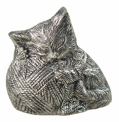 Silver Coloured Sleeping Cat Urn for Pet Ashes Cremation Memorial