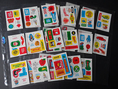 TOPPS STICK ONS (UK IRELAND) 1981 COMPLETE 33 STICKER SET(like garbage pail)