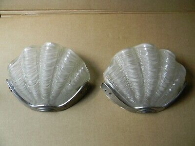 Vintage Art Deco Odeon Clam Shell Wall Lights x 2
