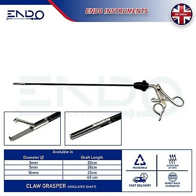 ENDO® New Laparoscopic Laparoscopy CLAW GRASPER 5mm Claw Grasping Forceps 33cm
