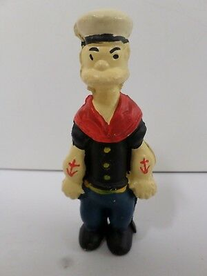 "Vintage Cast Iron Coin Bank Popeye the Sailor Cartoon Figure 5 1/4"" Tall"