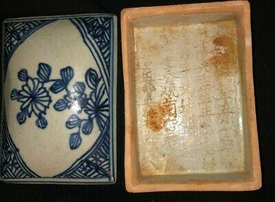 Antique Handmade & Painted Pottery Box With Chinese Writing Inside.