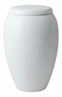 Large Aluminium White Urn for Adult or Pet Dog Ashes Cremains Memorial Funeral