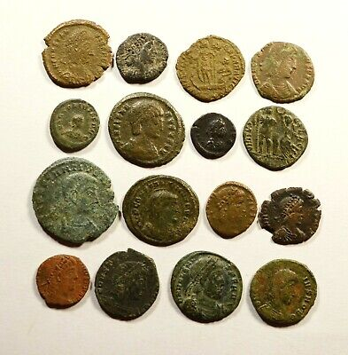 Lot Of 16 Imperial Roman Bronze Coins For Identifying - 21