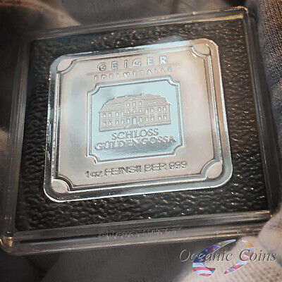 Geiger Edelmetalle 1.0 oz .999% Fine Silver Square Bar Uncirculated with capsule