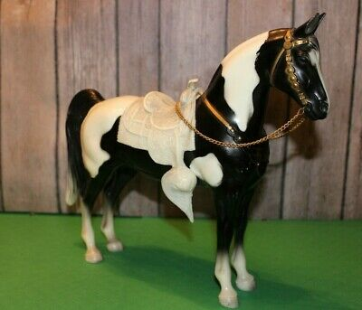 Vintage BREYER horse model black and white pinto with saddle and Bridle ~Glossy