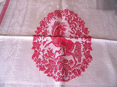 """Antique Red And White Damask Towel~Unusualtheme ~ Horse And Snake ~ 18"""" X 33"""""""