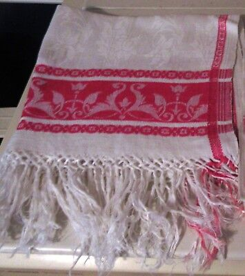 """Antique Red And White Damask Towel~Fringed ~ Floral ~ 18"""" X 39"""""""