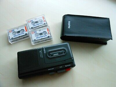 Sanyo TRC 500A Microcassette Tape Recorder Dictaphone with 3 cassettes