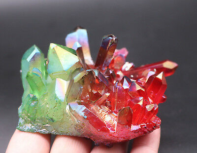 249g Aura Quartz Crystal Titanium Bismuth Silicon Cluster Rainbows