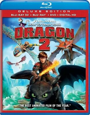 HOW TO TRAIN YOUR DRAGON 2 DELUXE EDITION BLU-RAY3D+BLU-RAY+DVD See Description