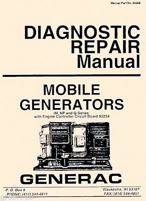 GENERAC AC Generator SERVICE MANUAL & Owner NP IM MC OHVI Engine 100 MANUALS CD
