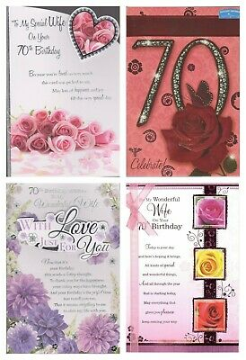 Wife 70th Birthday Card ~ To My Special Wife On Your 70th Birthday ~ 4 Designs