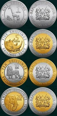 KENYA COMPLETE COIN SET 1+5+10+20 Shillings 2018 NEW SERIES W/ ANIMALS UNC LOT 4