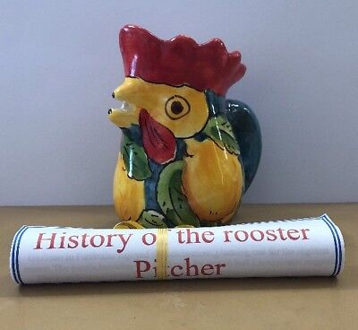 Vietri pottery-4,1/4 Inch Tall Rooster Pitcher Lemons.Made/painted by hand-Italy