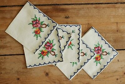 6 romantic french style embroidered floral old vintage antique napkins