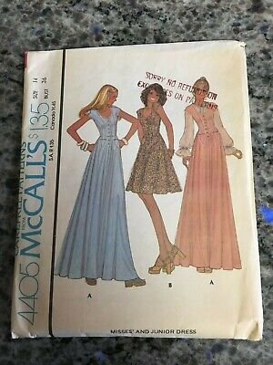 1976 Mccalls Sewing Pattern 4405 Misses Fitted Bodice Flare Skirt Dress Size 14