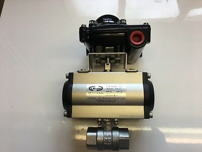 "Pneumatic Actuated Ball Valve 3/4"" BSP + Switch Box Indicator."