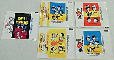 THE MONKEES Lot of 5 RARE 1966 & 1967 2 Vote 2 Gum 1 Club WAX PACK GUM WRAPPERS