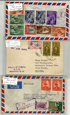 Nepal 4 covers, 1963 Registered cover sent from Kathmandu to USA, 1965 Airmail c