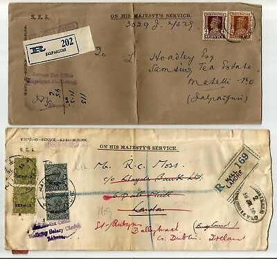 India 8 covers, scarce Service 1934 GV stamps on Registered cover sent to London