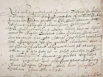1634 Yorkshire Eshton area 17th century paper Latin + English Deed Document