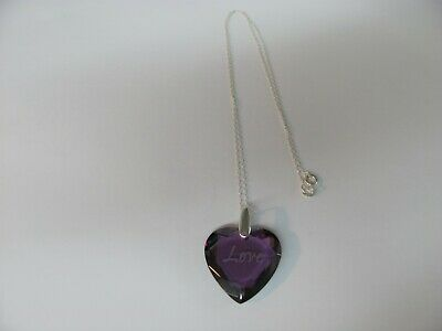 13374  OLD PAWN Sterling Silver Love Purple Crystal Heart Charm necklace