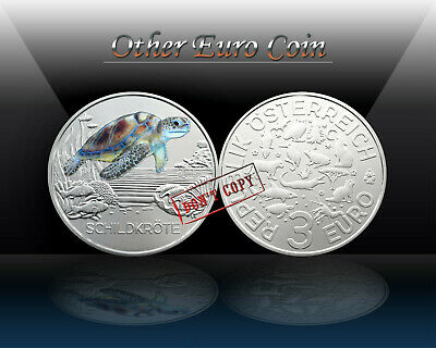 AUSTRIA 3 Euro 2019 (THIER THALER - TURTLE) Colorful Creatures / Commemorat. UNC