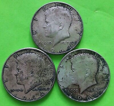 Kennedy Half Dollars Lot of 3 Coins 1964 Circulated 90% Silver