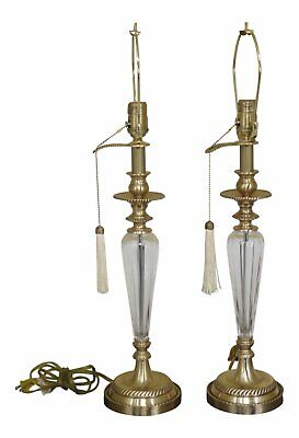 F30618EC: Pair QUOIZEL Brass & Crystal Table Lamps