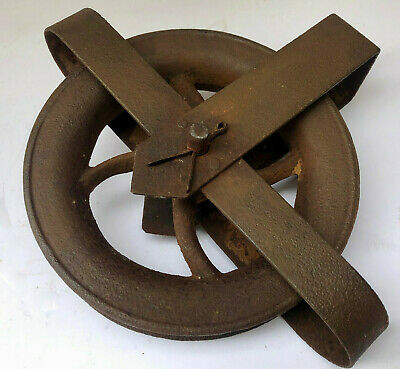 Antique French Heavy Cast Iron Pulley Wheel For Conversion To Vintage Lighting