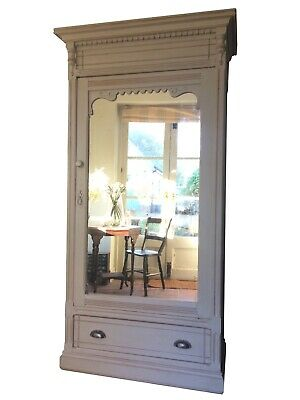 Antique French Mirrored Painted Grey Armoire Wardrobe Solid Pine Hall Cupboard
