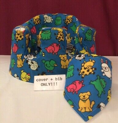 handmade seat cover with harness holes bumbo bib blue animals