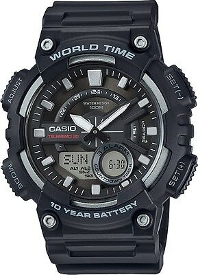 New Casio Men's Databank 30 Watch 100M 3 Alarms Chronograph Resin AEQ110W-1AV