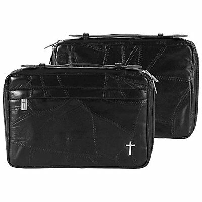 Black Topstitch Texture Large Print Leather Bible Cover With Handle