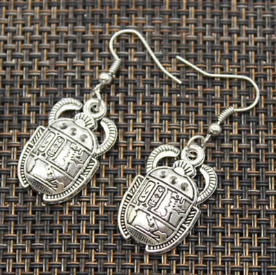 Ancient Egyptian Silver Scarab Beetle Earrings Egypt