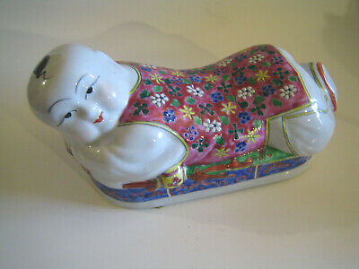 Chinese Hand-Painted Opium Pillow Figural Boy Ceramic Porcelain Head Rest