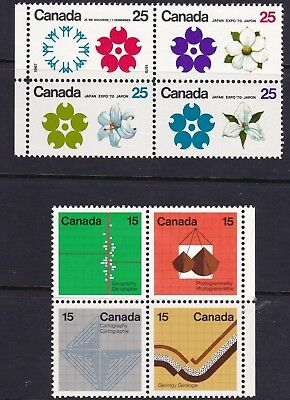 CANADA 1970 # 511a EXPO '70 & 1973 # 585a EARTH SCIENCES: BLOCKS OF 4 MH