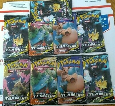 Pokemon 9 TEAM UP Booster Pack Lot - Factory Sealed Card packs lot of 9