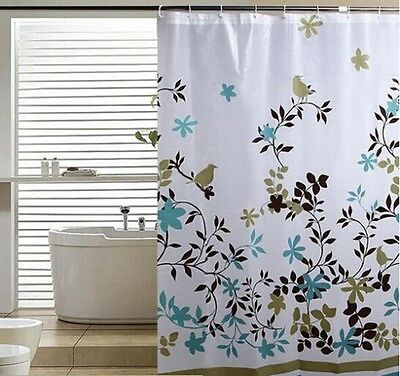 Flower Pattern Waterproof Fabric Bathroom Shower Curtain Sheer Panel Decor G