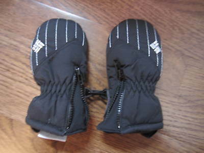 NWOT COLUMBIA Infant Black Winter Mittens Gloves One Size Baby