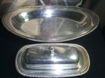 Vintage WM Rogers silverplate Engraved Butter & Bread Trays #887#819
