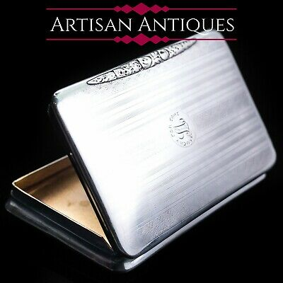 Antique Solid Silver Sleek Pocket Snuff Box with Gilt Interior